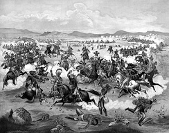 Fanciful 1876 illustration of Lieutenant Colonel Custer on horseback and his U.S. Army troops making their last charge at the Battle of the Little Bighorn