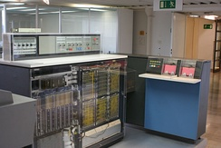 An IBM System/360 Model 20 CPU with front panels removed, with IBM 2560 MFCM (Multi-Function Card Machine)