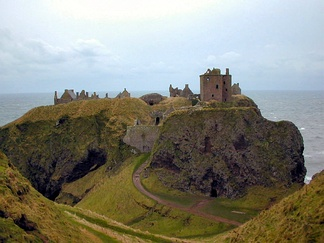 Dunnottar Castle in the Mearns occupies one of the best defensive locations in Great Britain. The site was in use throughout the High Middle Ages, and the castle itself dates to the fourteenth century.