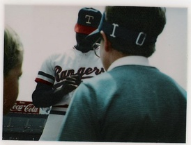 Dave Stewart signing autographs at Texas Rangers/Eckerd Drug Camera Day at Arlington Stadium on Sunday, April 28, 1985.