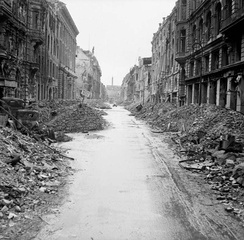 A devastated street in the city centre just off the Unter den Linden, 3 July 1945.