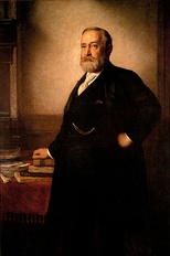 Official White House portrait of Benjamin Harrison, painted by Eastman Johnson