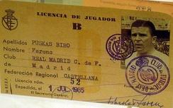 Puskás's player licence, showing his mother's maiden name Biró as a second surname in accordance with Spanish naming customs
