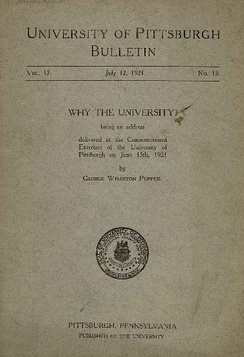 the front cover of the transcript of the commencement address given by George Wharton Pepper in July 1921