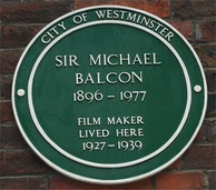 Green plaque on Balcon's house in Tufton Street, Westminster[2]