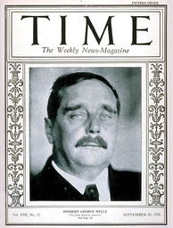 H. G. Wells, one day before his 60th birthday,  on the front cover of Time magazine, 20 September 1926