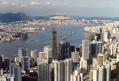 Victoria Harbour in 1988, showing the Bank of China Tower being built