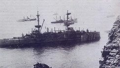 HMS Montagu during the failed salvage attempts of the summer of 1906