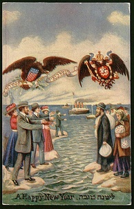 In this Rosh Hashana greeting card from the early 1900s, Russian Jews, packs in hand, gaze at the American relatives beckoning them to the United States. Over two million Jews fled the pogroms of the Russian Empire to the safety of the U.S. between 1881 and 1924.[197]