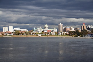 Harrisburg, with the state capitol dome, as viewed from across the Susquehanna River in Wormleysburg