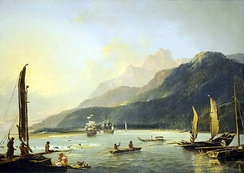 Matavai Bay, painted by William Hodges, member of an expedition led by Cook