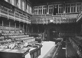 The old Chamber of the House of Commons built by Sir Charles Barry was destroyed by German bombs during the Second World War. The essential features of Barry's design were preserved when the Chamber was rebuilt.