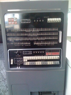 Front panel of an IBM 701 computer introduced in 1952. Lights in the middle display the contents of various registers. The instruction counter is at the lower left.