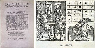De chalcographiae inventione (1541, Mainz) with the 23 letters. J, U and W are missing.