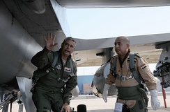 An Iraqi Air Force Commander at an F-16 training session in Arizona.