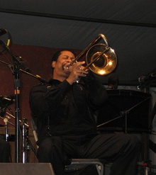 New Orleans Jazz & Heritage Festival: Freddie Lonzo playing on Economy Hall stage