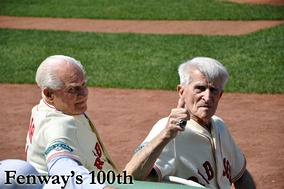 Bobby Doerr (left) and Johnny Pesky both played for the Red Sox and later served as Red Sox coaches.