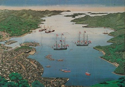 Bird's-eye view of the Nagasaki bay, with the island Dejima at mid-left (1820).