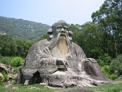 A stone sculpture of Laozi, located north of Quanzhou at the foot of Mount Qingyuan