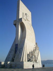 The entrance profile of the Monument to the Discoveries in Lisbon, displaying the sword of Aviz on a stylised cross, symbolising the growth of the empire and faith.