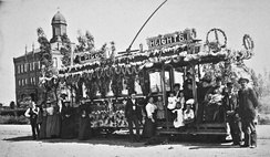 Los Angeles streetcar decorated for Washington's Birthday, c. 1892