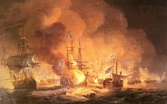 The Battle of the Nile, depicted in an 1801 painting by Thomas Luny