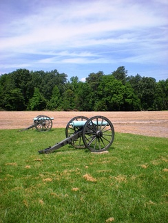 Cannons at the site of the Battle of Malvern Hill