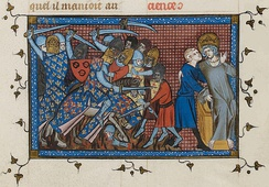 A mounted knight fights against footmen, while a crowned man is carried from the battlefield