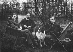 Three Duchamp brothers, left to right: Marcel Duchamp, Jacques Villon, and Raymond Duchamp-Villon in the garden of Jacques Villon's studio in Puteaux, France, 1914, (Smithsonian Institution collections)