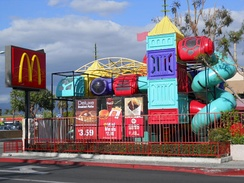 A McDonald's in Panorama City, Los Angeles, California with a Playplace designed to promote a family-friendly image