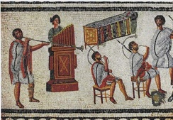 Musicians with horns and a water organ, detail from the Zliten mosaic, 2nd century AD