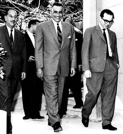 Tripartite unity talks between Iraqi Prime Minister Ahmed Hassan al-Bakr (left),  Egyptian President Gamal Abdel Nasser (center) and Syrian President Lu'ay al-Atassi (right), 16 April 1963. Relations between Nasser and the Syrian Ba'athists deteriorated weeks later after the purge of Nasserists from the officer corps and Alwan's failed coup. Atassi resigned following the events.