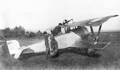 Russian Nieuport 21 armed with a Hotchkiss M1909 machine gun