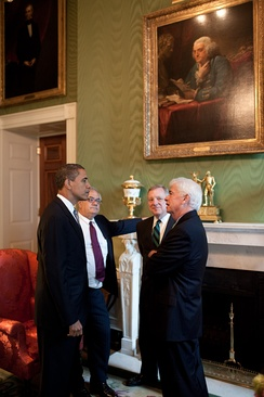 President Barack Obama meeting with Rep. Barney Frank, Sen. Dick Durbin, and Sen. Chris Dodd, at the White House prior to a financial regulatory reform announcement on June 17, 2009.