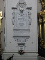 Funerary monument on a pillar in Holy Cross Church, Warsaw, enclosing Chopin's heart