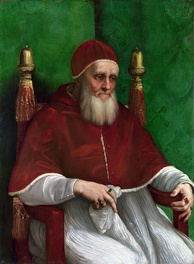 Portrait of Julius II by Raphael, 1511–12, National Gallery