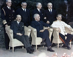 Clement Attlee, Harry S. Truman and Joseph Stalin at the Potsdam Conference, July 1945.