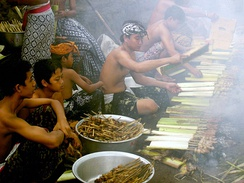 Humans living in Bali, Indonesia preparing a meal.