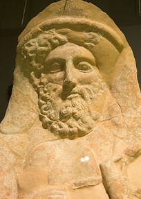 Wall protome of a bearded Dionysus. Boeotia, early 4th century BC.