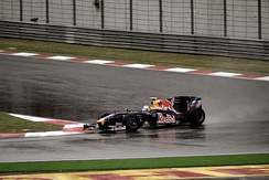 Sebastian Vettel took Red Bull Racing's first victory in Formula One.