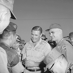 Secretary of Defense Robert McNamara and General Westmoreland talks with General Tee on condition of the war in Vietnam.