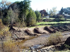 Robinson Creek restoration project (2005) included re-shaping of stream bank slopes, addition of live willow and large rock baffles, removal of invasive species and revegetation with indigenous species.[6]