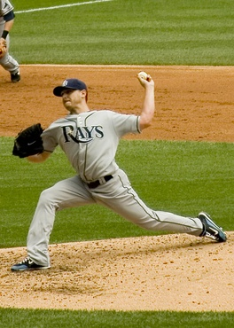 Kazmir pitching for the Tampa Bay Rays in 2009