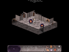 An adventurer finds a teleportation portal while exploring a dungeon in the role-playing video game Falcon's Eye.