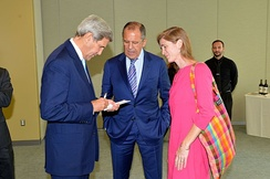 Power with John Kerry and Russian Foreign Minister Sergey Lavrov, September 29, 2015