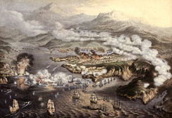 The eleven-month siege of a Russian naval base at Sevastopol during the Crimean War