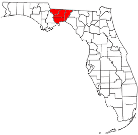 Location of the Tallahassee Metropolitan Statistical Area in Florida
