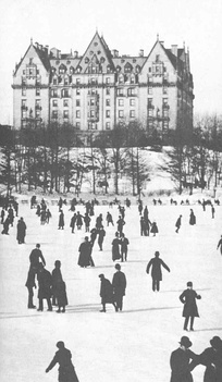 The Dakota luxury apartment building, view from Central Park,  1890
