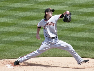 Tim Lincecum delivering a pitch from the mound for the San Francisco Giants