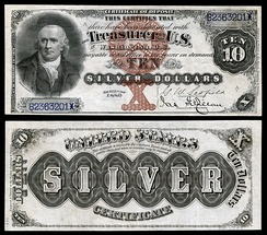 Series 1880 $10 silver certificate.